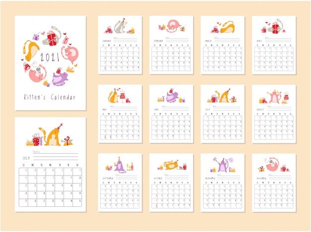 Calendario de fiesta de cumpleaños de gatos 2021 - gatito divertido con sombrero festivo, cajas de regalo y regalos