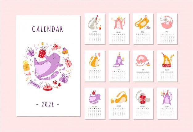 Calendario de fiesta de cumpleaños de gatos gracioso gatito con sombrero festivo, cajas de regalo y regalos, pastel de cumpleaños -