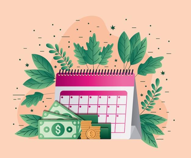 Calendario fiscal facturas monedas y hojas de diseño vectorial