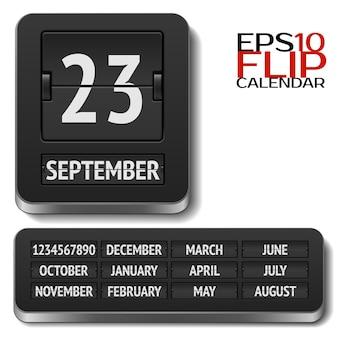 Calendario flip analógico aislado en blanco