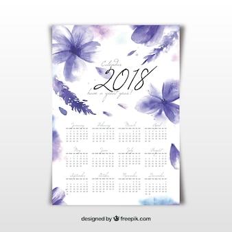 Calendario floral 2018 de acuarela