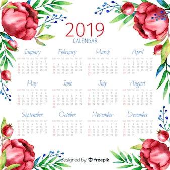 Calendario floral acuarela 2019