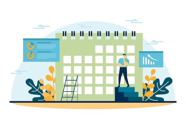 Calendario gente marketing digital comercio ilustración análisis web móvil