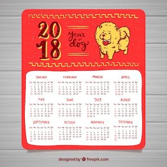 Calendario hecho a mano de año nuevo chino