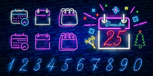 Calendario icono azul brillante neón ui ux. logo de signo brillante
