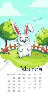 Calendario marzo 2021. conejo de divertidos dibujos animados en el césped de primavera. para impresión bajo demanda, presentaciones en powerpoint y keynote, anuncios y comerciales, revistas y periódicos, portadas de libros