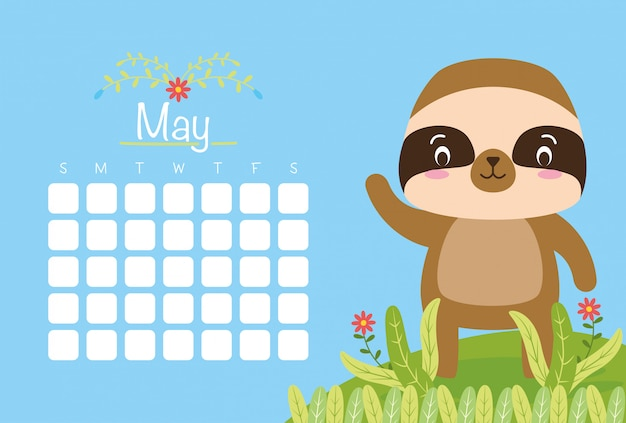 Calendario de mayo con animal lindo sobre azul, estilo plano