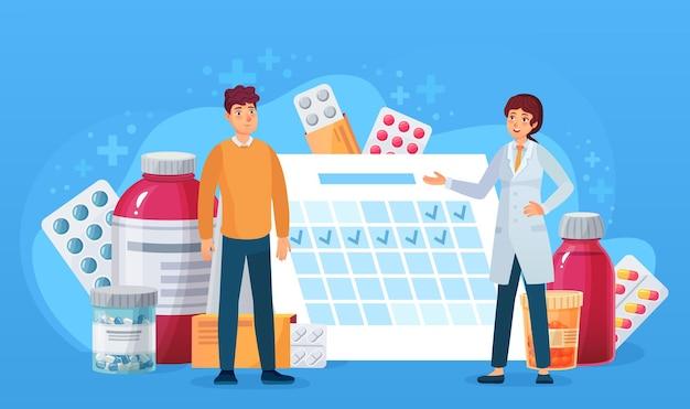 Calendario de medicación. médico y paciente de pie en el calendario con pastillas. programa de tratamiento de dibujos animados médico, concepto de vector de salud. médico que prescribe medicamentos como cápsulas, tabletas y jarabe