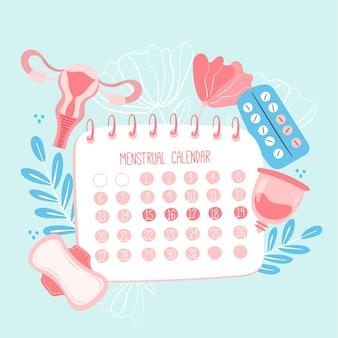 Calendario menstrual con elementos de salud de la mujer.