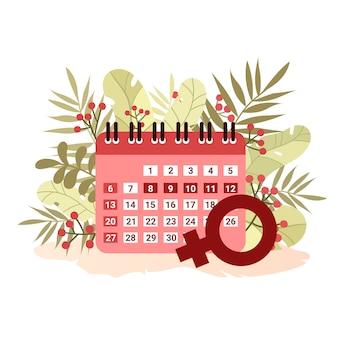 Calendario menstrual sobre fondo de hojas en estilo plano. mujeres de época. control de ciclo. .