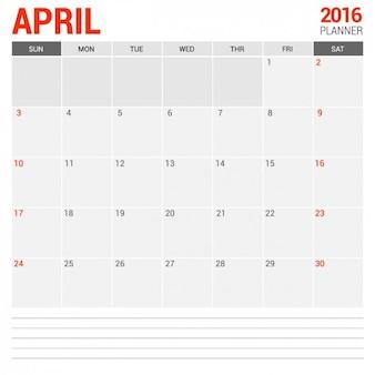 Calendario mensual abril 2016