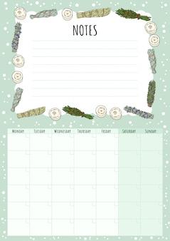 Calendario mensual de boho con elementos de palos de manchas de salvia y lista de tareas.