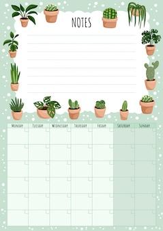 Calendario mensual higiénico con elementos de plantas suculentas y lista de tareas.
