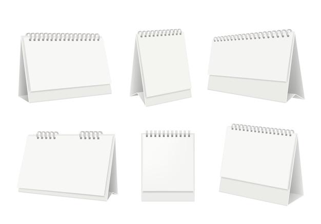 Calendario de mesa en blanco. organizador de escritorio con páginas de papel blanco realistas