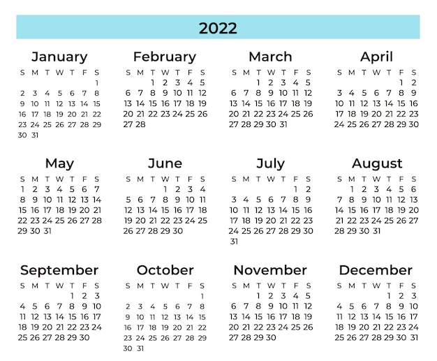 Calendario mínimo azul y negro
