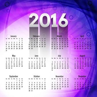 Calendario morado de año nuevo 2016