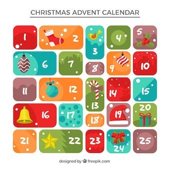 Calendario navideño de adviento en colores brillantes