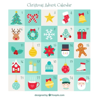 Calendario navideño de adviento dibujado a mano