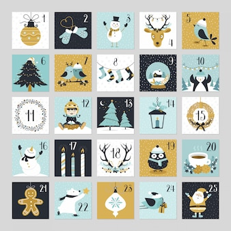 Calendario navideño lindo de cuenta regresiva