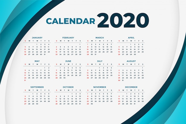 Calendario de negocios 2020 con formas curvas azules