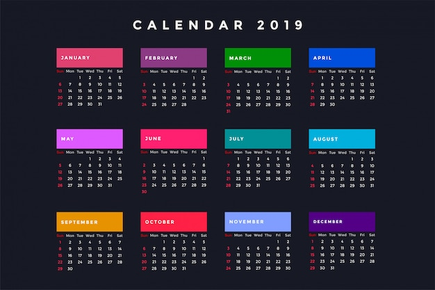 Calendario oscuro de año nuevo para 2019
