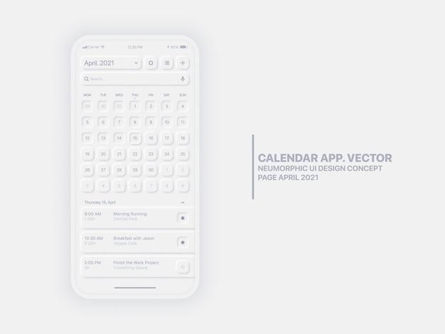 Calendario página de la aplicación móvil abril de 2021 año con el administrador de tareas maqueta de diseño neumorphic ui ux conceptual