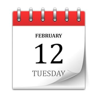 Calendario con página curl