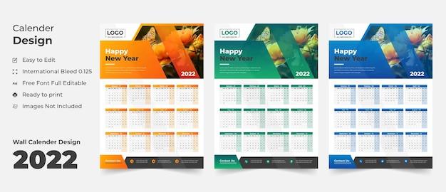 Calendario de pared 2022 con diseño azul calendario de pared azul calendario de pared de 202212 páginas