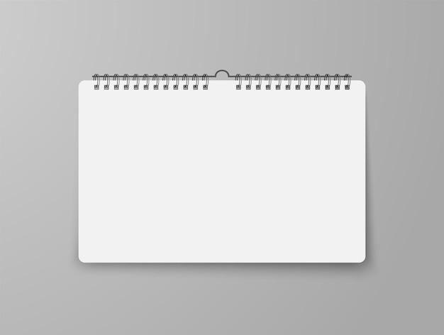 Calendario de pared en blanco con sombra suave con espiral