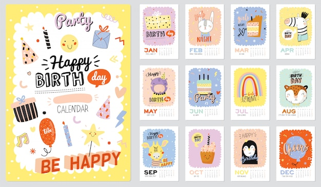 Calendario de pared de feliz cumpleaños. el planificador anual tiene todos los meses. buen organizador y horario. ilustraciones de fiesta de moda, letras con citas de inspiración navideña. antecedentes