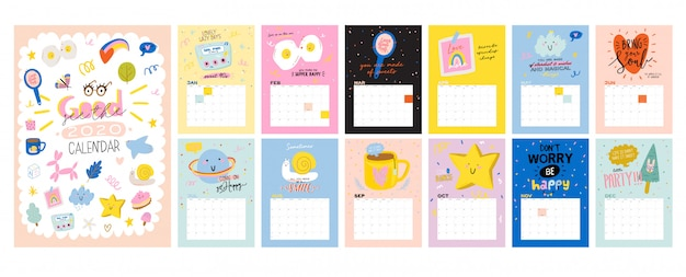 Calendario de pared de feliz cumpleaños. el planificador anual tiene todos los meses. buen organizador y horario. niños lindos doodle ilustración, letras con citas de motivación e inspiración. antecedentes