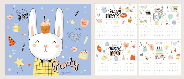 Calendario de pared de feliz cumpleaños. el planificador anual tiene todos los meses. buen organizador y horario.