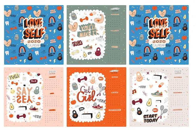 Calendario de pared firtness. el planificador anual tiene todos los meses. buen organizador y horario. ilustraciones deportivas de moda, letras con citas motivacionales. antecedentes