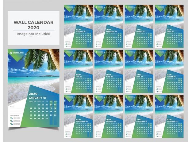 Calendario de pared de gradiente de año nuevo 2020