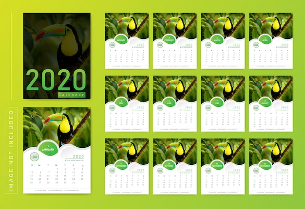 Calendario de pared moderno 2020