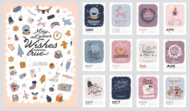 Calendario de pared. planificador anual 2020 con todos los meses