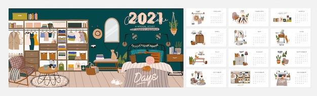 Calendario de pared. planificador anual 2021 con todos los meses. buen organizador escolar y horario. lindo fondo interior de la casa.