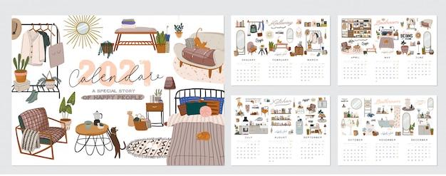 Calendario de pared. planificador anual 2021 con todos los meses. buen organizador escolar y horario.