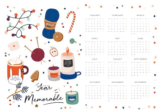 Calendario de pared. planificador anual 2021 con todos los meses. buen organizador y horario escolar.