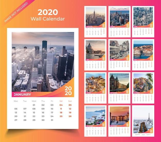 Calendario de pared para la plantilla 2020