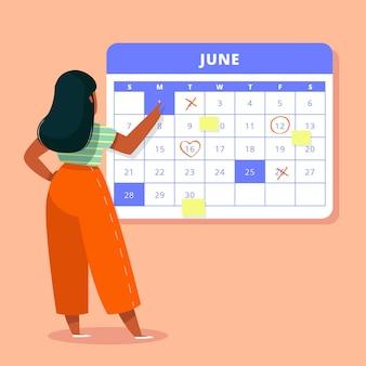 Calendario en una pared y reservar una reunión