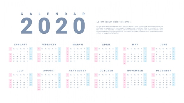 Calendario de pared simple 2020