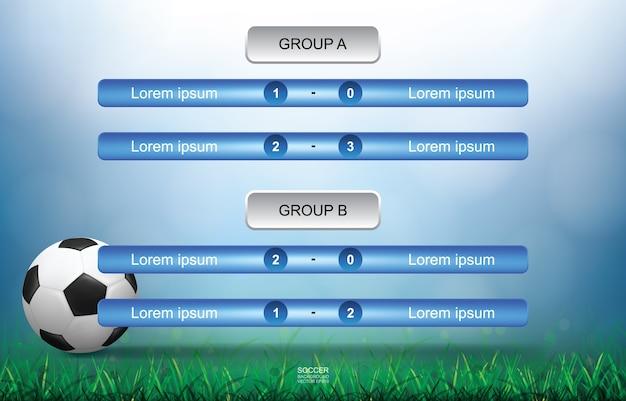 Calendario de partidos para el deporte del fútbol.
