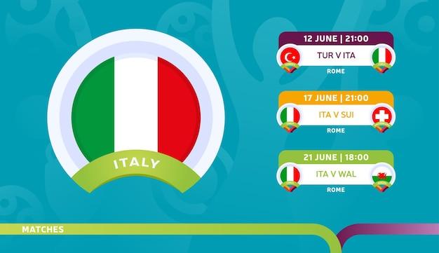 Calendario de partidos de la selección de italia en la fase final del campeonato de fútbol 2020. ilustración de partidos de fútbol 2020.