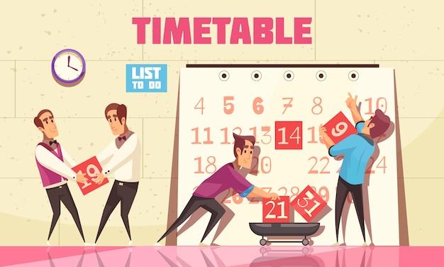 Calendario con personas atraídas por la gestión del tiempo para planificar el proceso de trabajo