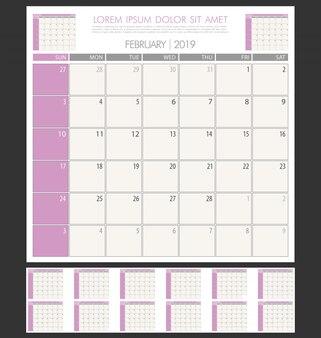 Calendario planificador 2019 años plantilla de diseño minimalista simple