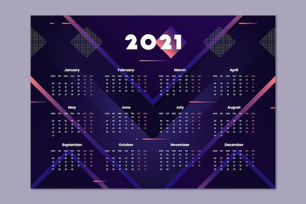 Calendario plano año nuevo 2021