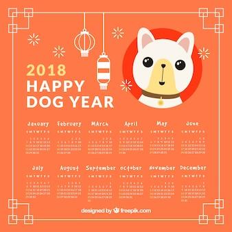 Calendario plano de año nuevo chino