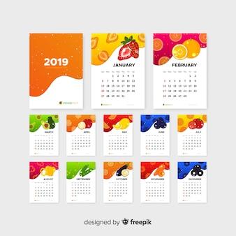 Calendario plano de vegetales y frutas