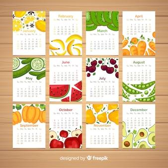 Calendario plano de verduras y frutas estacionales
